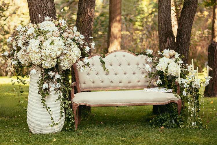 luxury wedding floral display