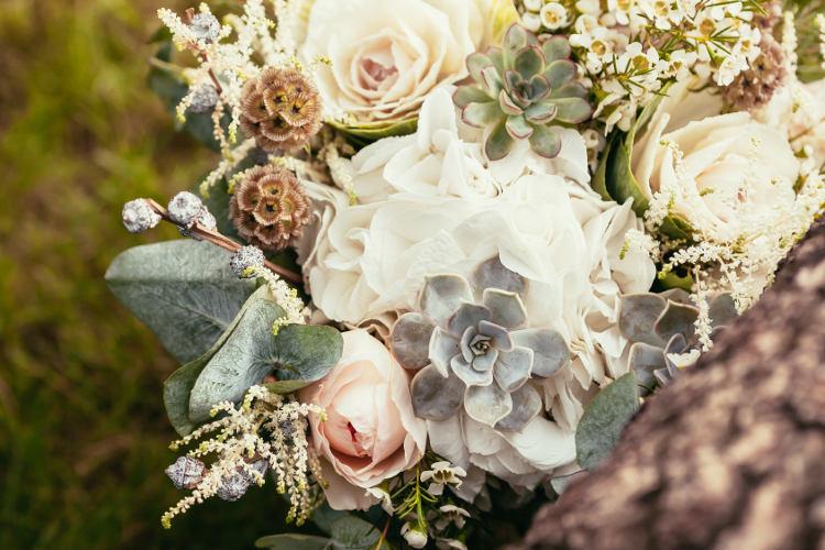 succulents in wedding flowers